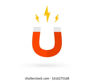 Magnet with lightning. Horseshoe Magnet with Magnetic Power. Magnetism, magnetize, attraction concept.