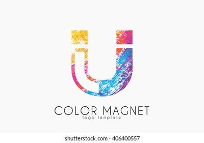 Magnet logo design. Magnet symbol.  Magnet icon