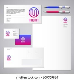 Magnet logo. M letter. Industrial work Identity. Corporate style, envelope, letterhead, business card, pens.