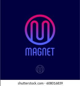 Magnet logo. M monogram. Pink one line logo in a circle.