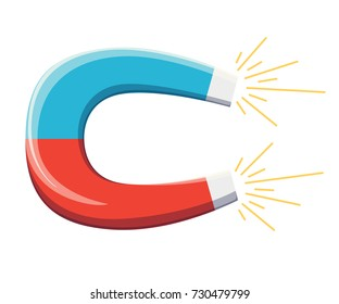 Magnet with magnetic power icon vector illustration, flat cartoon magnet isolate on white background Web site page and mobile app design