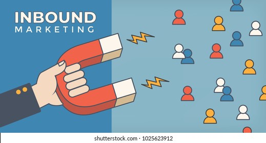 Magnet pulling people for inbound lead generation -a digital marketing symbol