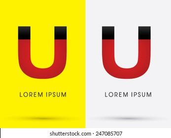 Magnet, U, logo, symbol, icon, graphic, vector.