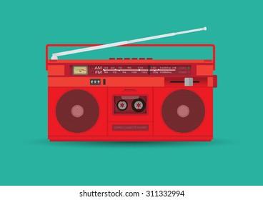 Magnetic cassette player. Vector