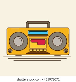 Magnetic cassette player. Vector flat