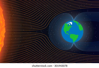 Magnetic field of Earth. Protect the Earth from solar wind, vector illustration