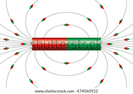 magnetic field lines bar magnet illustration stock vector royalty