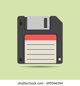 Magnetic floppy disc icon in flat style, isolated web icon, colored