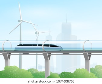 Magnetic levitation train moving on the skyway in a vacuum tunnel above the park in the city. Futuristic concept. Modern city transport. Vector illustration