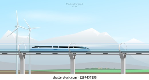 Magnetic levitation train moving on the skyway in a vacuum tunnel across the valley and mountains. Futuristic concept. Modern city transport. Vector illustration