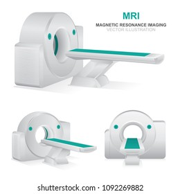 Magnetic resonance imaging devices set.  MRI scanner vector illustrations isolated on white background. MRI diagnostics realistic icons set.