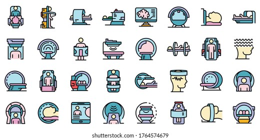 Magnetic resonance imaging icons set. Outline set of magnetic resonance imaging vector icons thin line color flat isolated on white