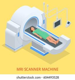 Magnetic resonance imaging MRI of the body. Flat isometric illustration. Medicine diagnostic concept