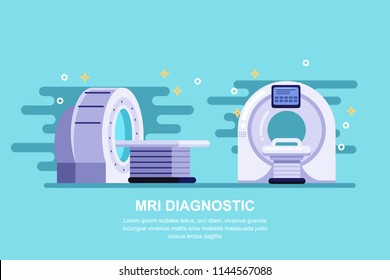 Magnetic resonance imaging scan device, vector flat illustration. Hospital medical equipment and diagnostic concept.
