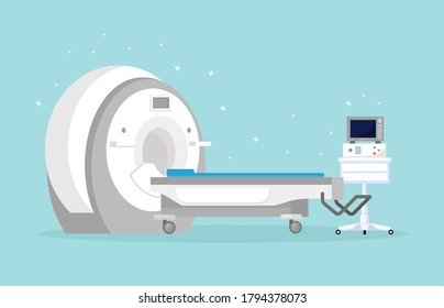 Magnetic Resonance Imaging Technology. Tomography, radiology, xray machine for examination for oncology disease, brain diagnostics. MRI machine with computer. Vector cartoon design
