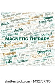 Magnetic Therapy word cloud. Wordcloud made with text only.