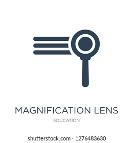 magnification lens icon vector on white background, magnification lens trendy filled icons from Education collection, magnification lens vector illustration