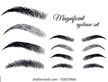 Magnificent fashion brow set. Forms, shapes and type. Hand-drawn vector sketch illustration.