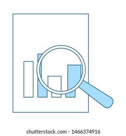 Magnificent Glass On Paper With Chart Icon. Thin Line With Blue Fill Design. Vector Illustration.