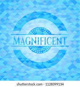 Magnificent sky blue emblem with mosaic background
