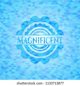 Magnificent sky blue emblem. Mosaic background