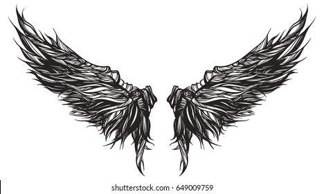 Magnificent wingspan of fantasy  demon or monster. Vector illustration isolated graphic style Sketch for tattoo, hipster t-shirt design, vintage style posters. Coloring book for kids and adults.
