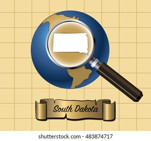 Magnified South Dakota State Map on Globe Vector Illustration