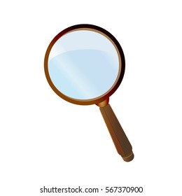 Magnifier with brown handle. Vector illustration isolated on white background for your design