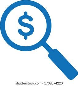Magnifier dollar icon vector illustration (blue version)