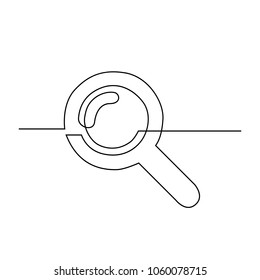 Magnifier drawn by one line. Single line drawing. Continuous line. Vector Eps10