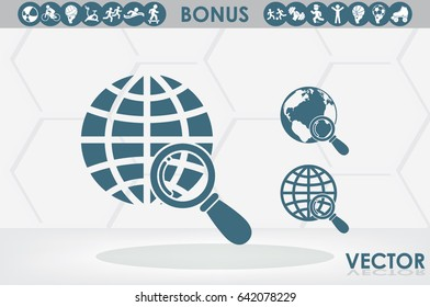 Magnifier Earth icon vector illustration eps10