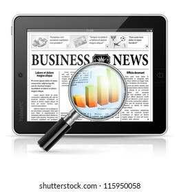 Magnifier Enlarges Chart in Business News on Tablet PC, isolated on white background, vector