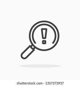 Magnifier with exclamation mark icon in line style. For your design, logo. Vector illustration. Editable Stroke.