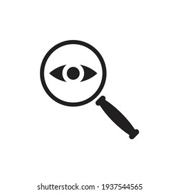 Magnifier with eye icon design isolated on white background