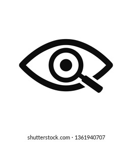 Magnifier with eye outline icon. Find icon, investigate concept symbol. Eye with magnifying glass. Appearance, aspect, look, view, creative vision icon for web and mobile – stock vector