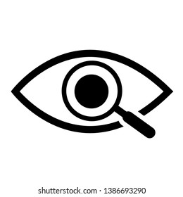 Magnifier with eye outline icon. Find icon, investigate concept symbol. Eye with magnifying glass. Appearance, aspect, look, view, creative vision icon