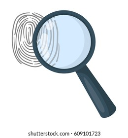 Magnifier and fingerprint. Detection of criminals by fingerprint.Prison single icon in cartoon style vector symbol stock illustration.
