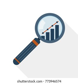 Magnifier and graph icon in flat design. Vector illustration. Concept of analysis or audit