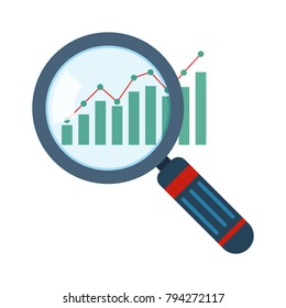 Magnifier and graph icon in flat design. Vector illustration. Analytics concept