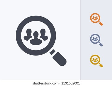 Magnifier & Group - Pastel Cutwork Icons. A professional, pixel-aligned icon.