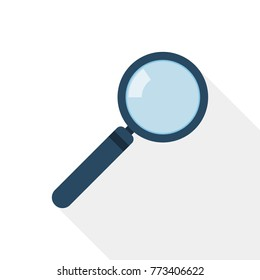 Magnifier icon in flat design. Vector illustration. Magnifier with long shadow