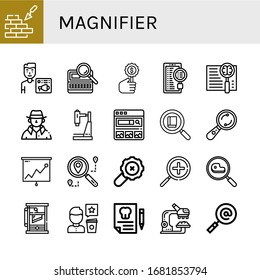 magnifier icon set. Collection of Brickwall, News admin, Search, Detective, Research, Search engine, Examine, Analysis, Zoom in, Guillotine, Review, Dental insurance icons