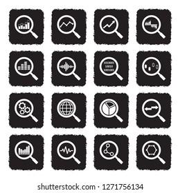 Magnifier Icons. Grunge Black Flat Design. Vector Illustration.