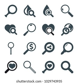 Magnifier icons. set of 16 editable filled magnifier icons such as heart search