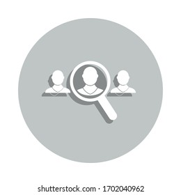 magnifier, man, queue management badge icon. Simple glyph, flat vector of Business icons for ui and ux, website or mobile application
