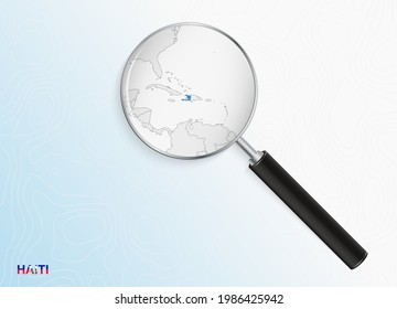 Magnifier with map of Haiti on abstract topographic background. Vector map.