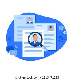 Magnifier on applications. Flat design colorful vector illustration concept for human resource management, recruitment, headhunting, searching employees, selecting professional staff isolated on white
