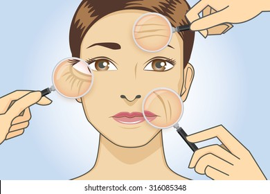 A magnifier on hand magnifying the woman facial to finding wrinkle around her face area.