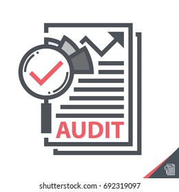 Magnifier on a report sheet symbol icon  isolated on white, Audit concept. Vector illustration. Logo template design