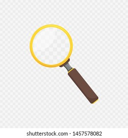 magnifier on transparent background in flat style, vector